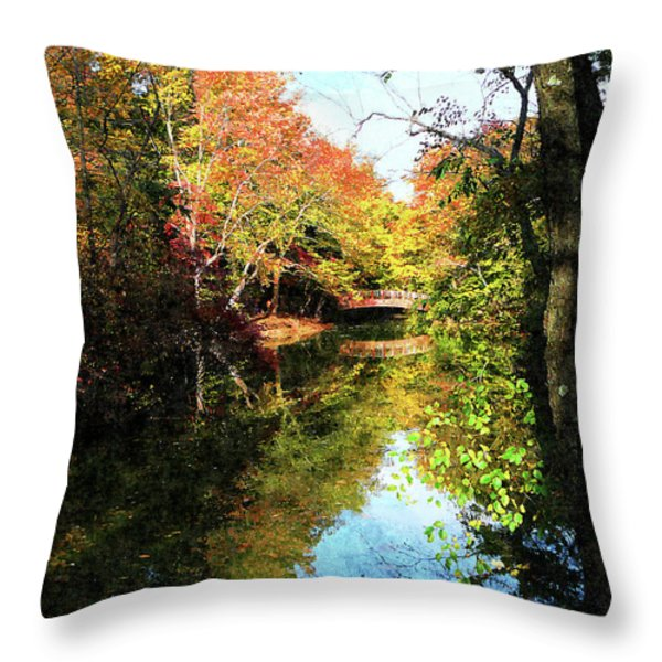 Autumn Park With Bridge Throw Pillow by Susan Savad