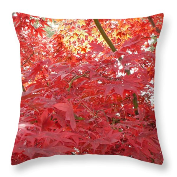 Autumn Red Poster Throw Pillow by Carol Groenen