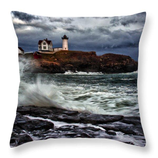 Autumn Storm at Cape Neddick Throw Pillow by Rick Berk