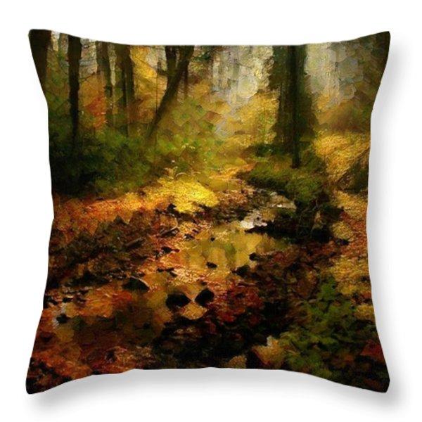 Autumn sunrays Throw Pillow by Gun Legler