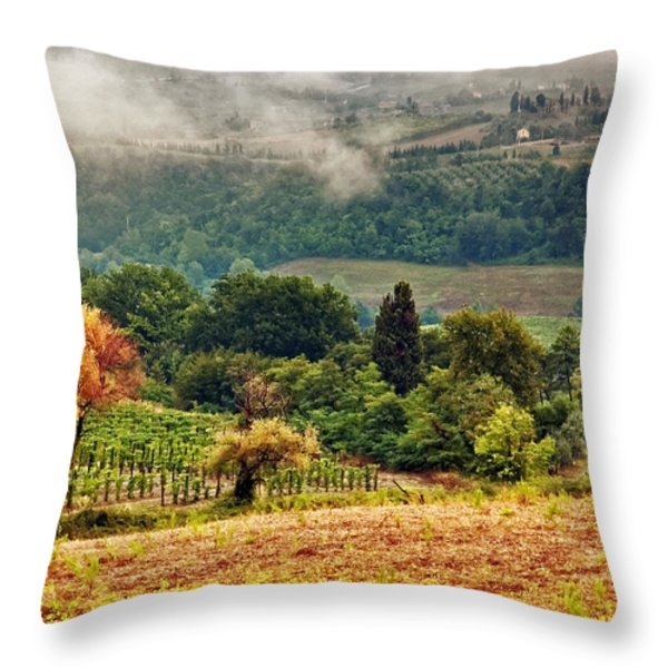 Autumnal hills Throw Pillow by Silvia Ganora