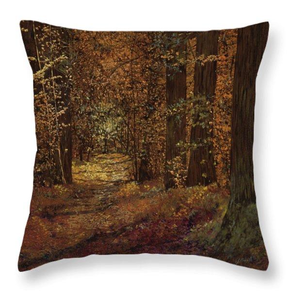 autunno nei boschi Throw Pillow by Guido Borelli