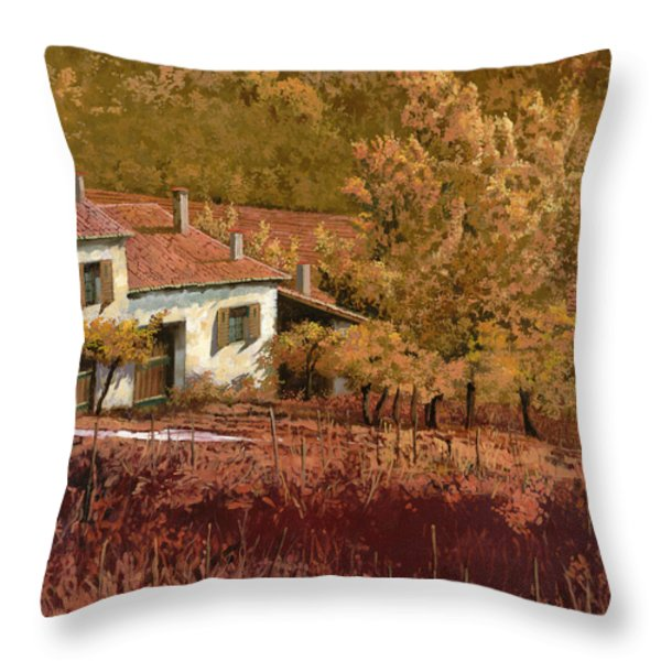 autunno rosso Throw Pillow by Guido Borelli