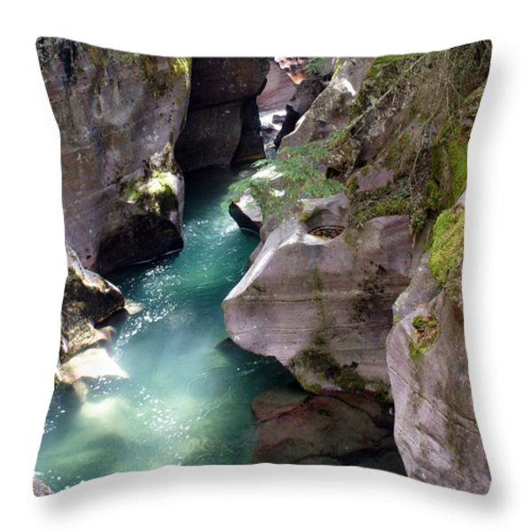 Avalanche Creek Glacier National Park Throw Pillow by Marty Koch