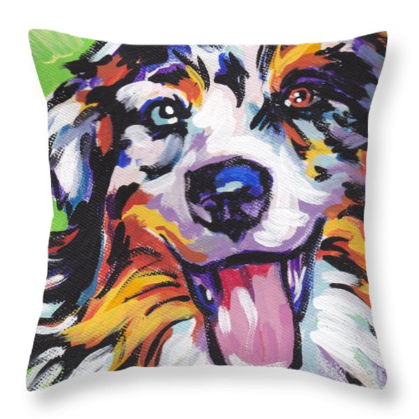 Awesome Aussie Throw Pillow by Lea S