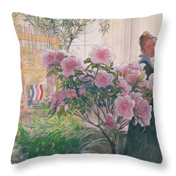 Azalea Throw Pillow by Carl Larsson