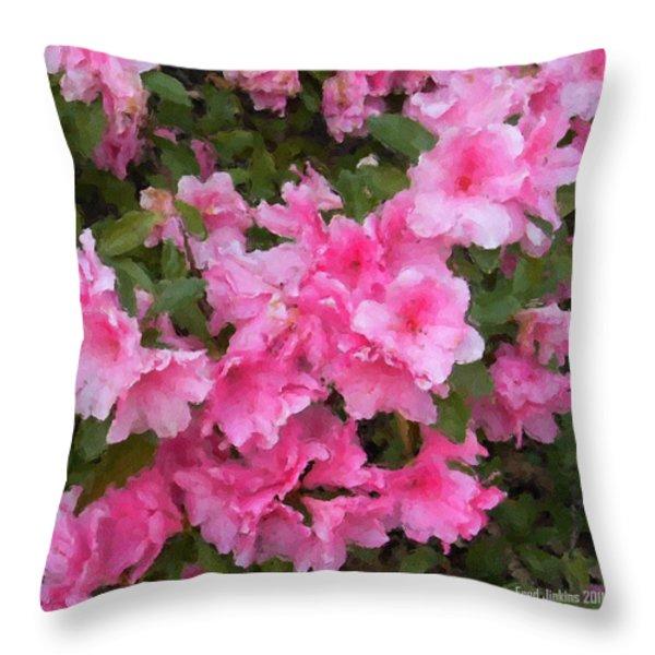 Azalea watercolor  Throw Pillow by Fred Jinkins