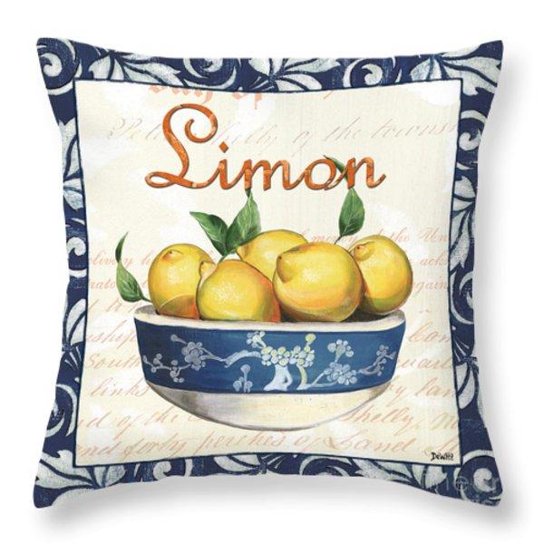 Azure Lemon 3 Throw Pillow by Debbie DeWitt