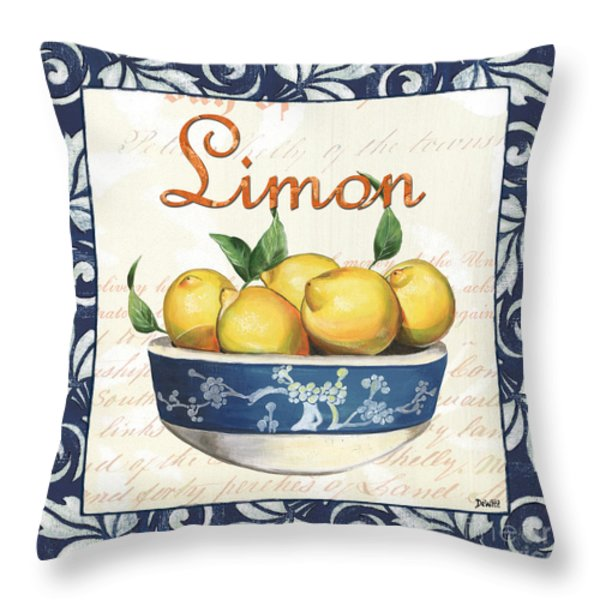 Azure Lemon 3 Throw Pillow by Debbie DeWitt
