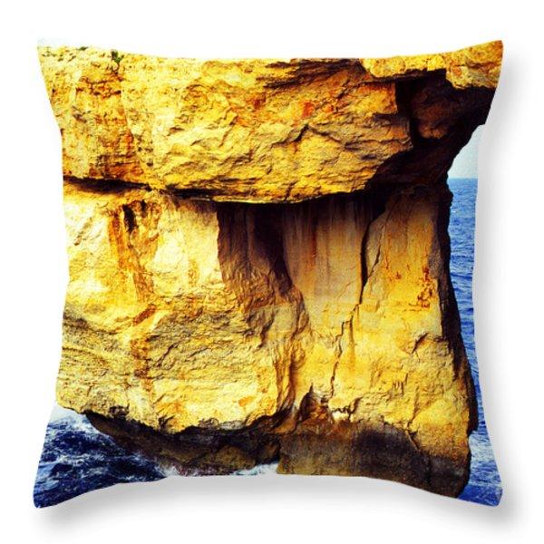 Azure Window Island Of Gozo Throw Pillow by Thomas R Fletcher