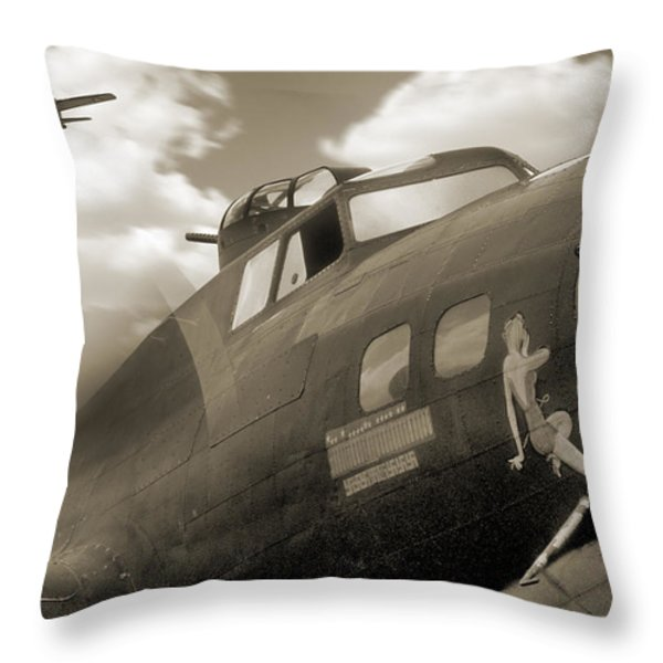 B - 17 Memphis Belle Throw Pillow by Mike McGlothlen
