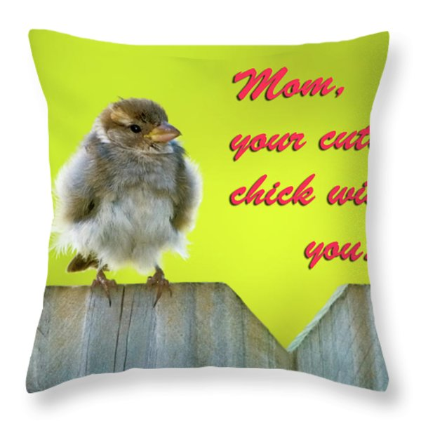 Baby bird Throw Pillow by Betty LaRue