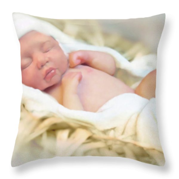 Baby Jesus Throw Pillow by Jennifer Hickey