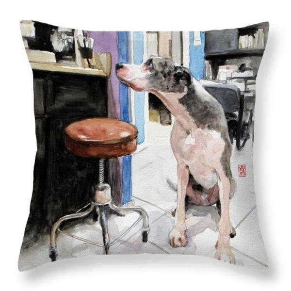 Back Office Throw Pillow by Debra Jones