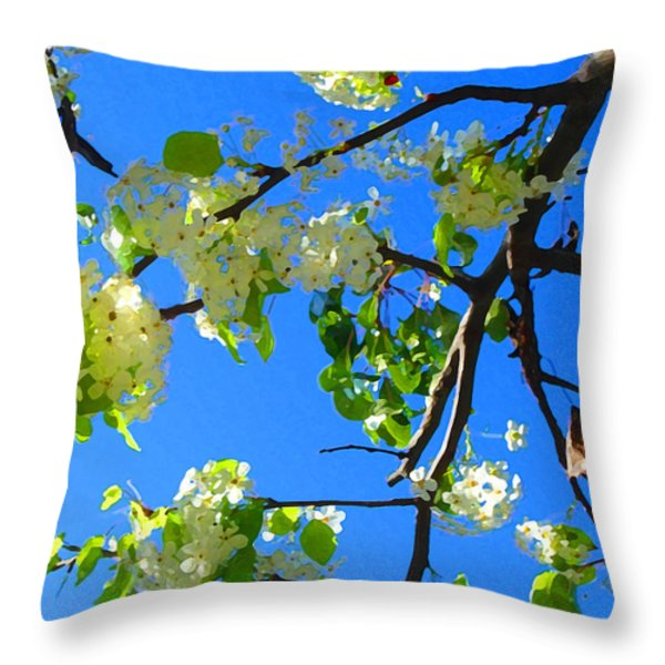 Backlit White Tree Blossoms Throw Pillow by Amy Vangsgard