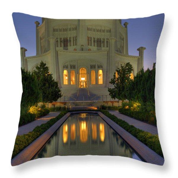 Bahai Temple Throw Pillow by Sandra Bronstein