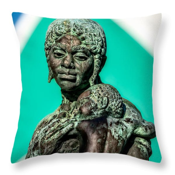 Bahamian Mother And Child Throw Pillow by Christopher Holmes