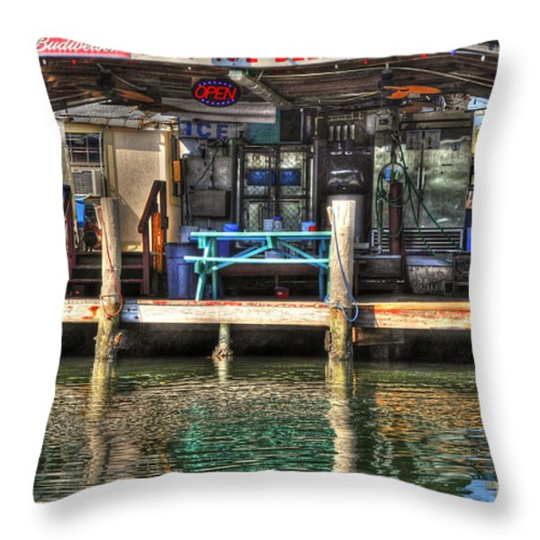 Bait Ice  Beer shop on bay Throw Pillow by Dan Friend