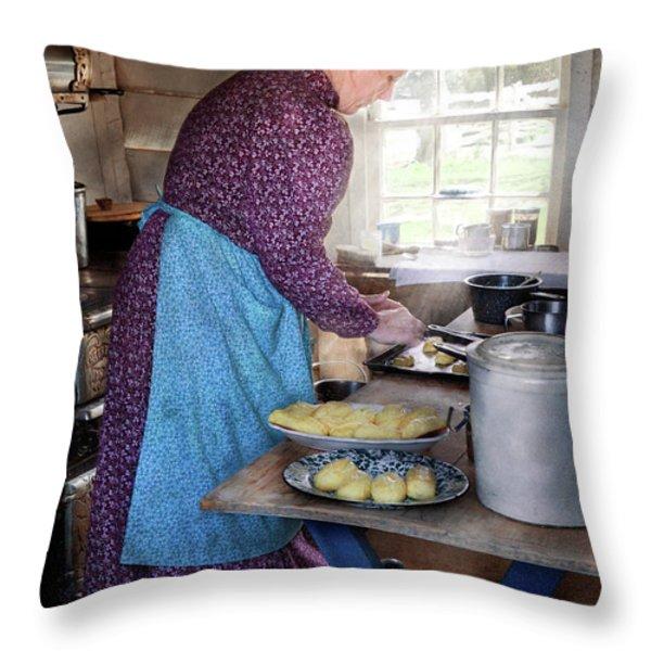 Baker - Preparing Dinner Throw Pillow by Mike Savad