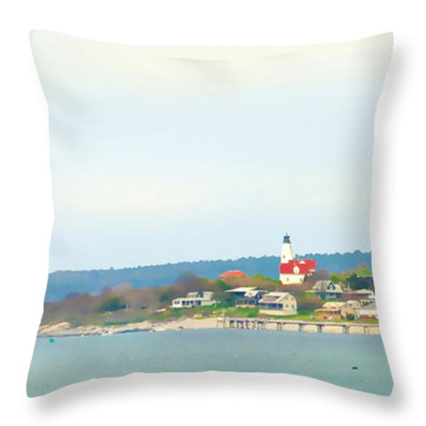Bakers Island Lighthouse Throw Pillow by Michelle Wiarda