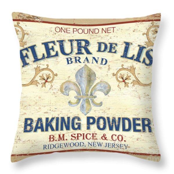 Baking Powder Fleur De Lis Throw Pillow by Debbie DeWitt