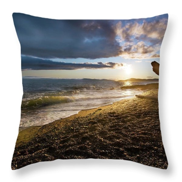 Balanced Evening Throw Pillow by Mike Reid