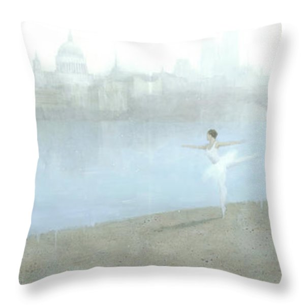 Ballerina On The Thames Throw Pillow by Steve Mitchell