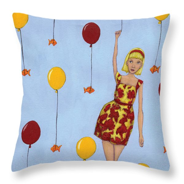 Balloon Girl Throw Pillow by Christy Beckwith