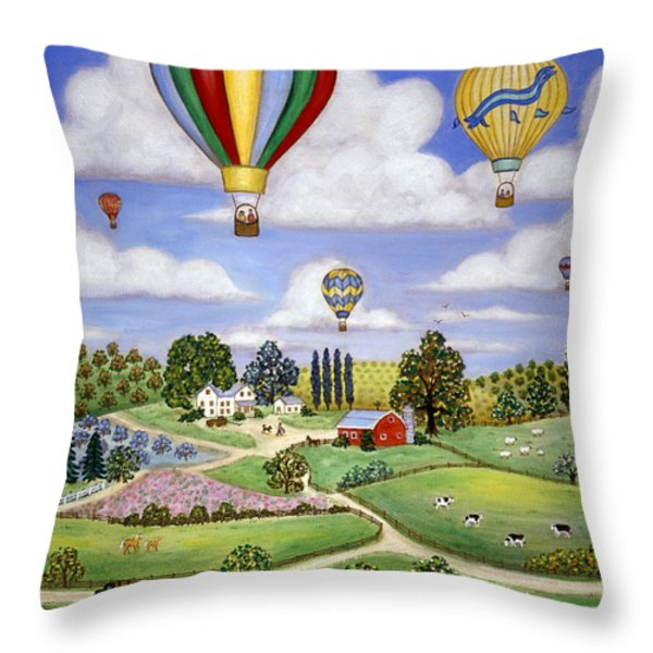 Ballooning in the Country One Throw Pillow by Linda Mears