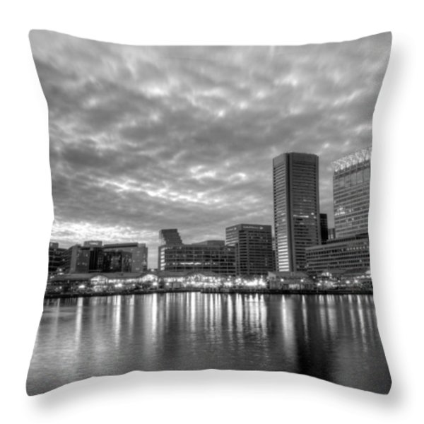 Baltimore in Black and White Throw Pillow by JC Findley