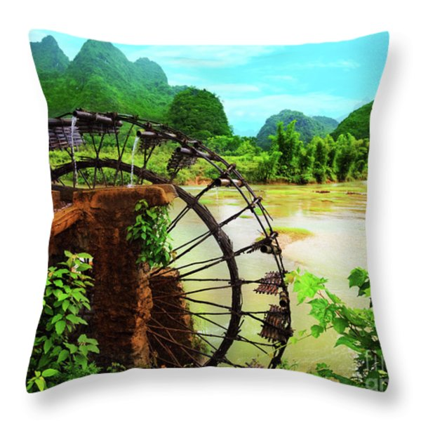 Bamboo Water Wheel Throw Pillow by MotHaiBaPhoto Prints