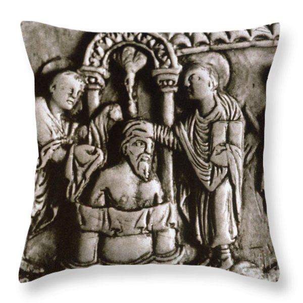 Baptism Of Clovis I, 496 A.d Throw Pillow by Granger