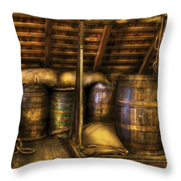 Bar - Wine Barrels Throw Pillow by Mike Savad