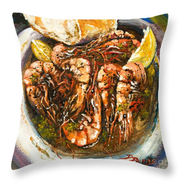 Barbequed Shrimp Throw Pillow by Dianne Parks