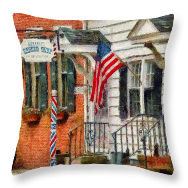 Barber - Keller's Barber Shop Throw Pillow by Mike Savad