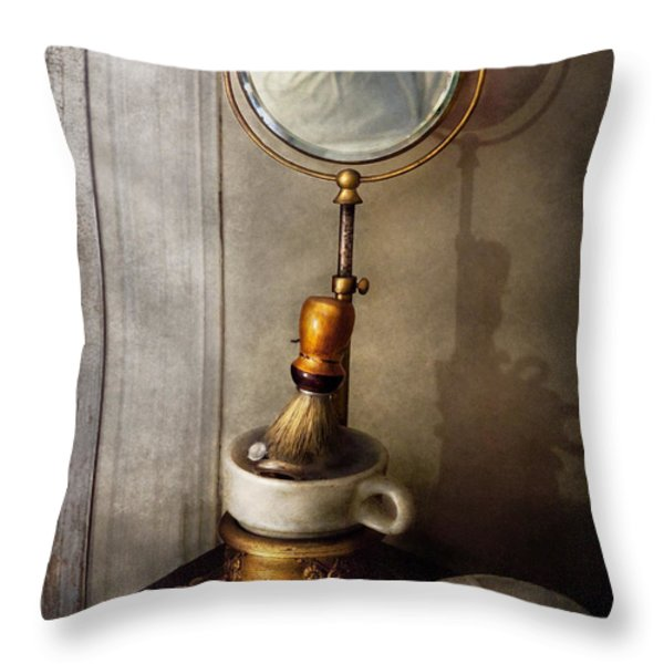 Barber - The Morning Shave  Throw Pillow by Mike Savad