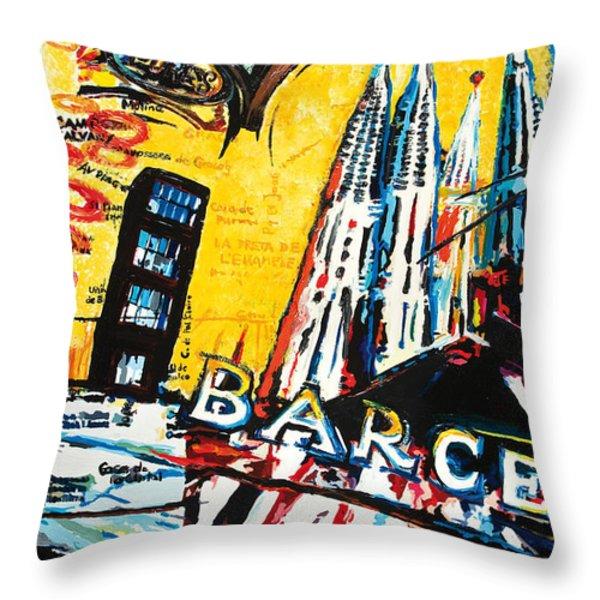 Barcelona Throw Pillow by Gerald Herrmann