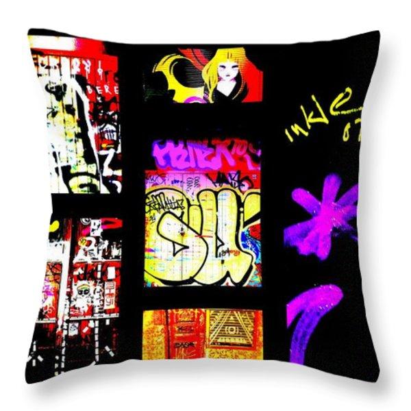 Barcelona Graffiti  Throw Pillow by Funkpix Photo Hunter