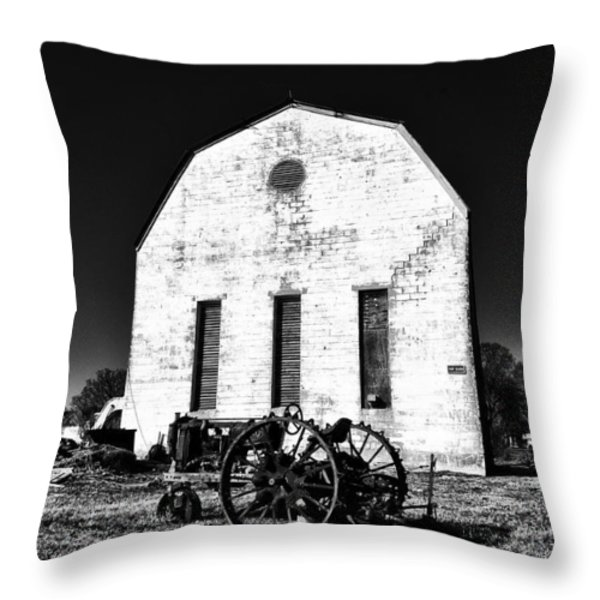 Barn And Tractor In Black And White Throw Pillow by Bill Cannon