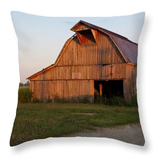 Barn at Early Dawn Throw Pillow by Douglas Barnett