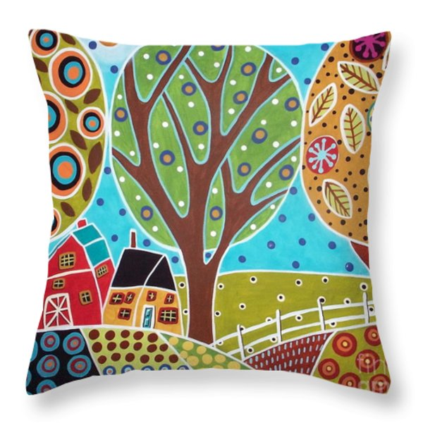 Barn Trees And Garden Throw Pillow by Karla Gerard