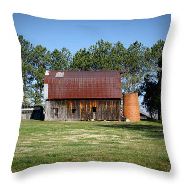 Barn with Tree in Silo Throw Pillow by Douglas Barnett