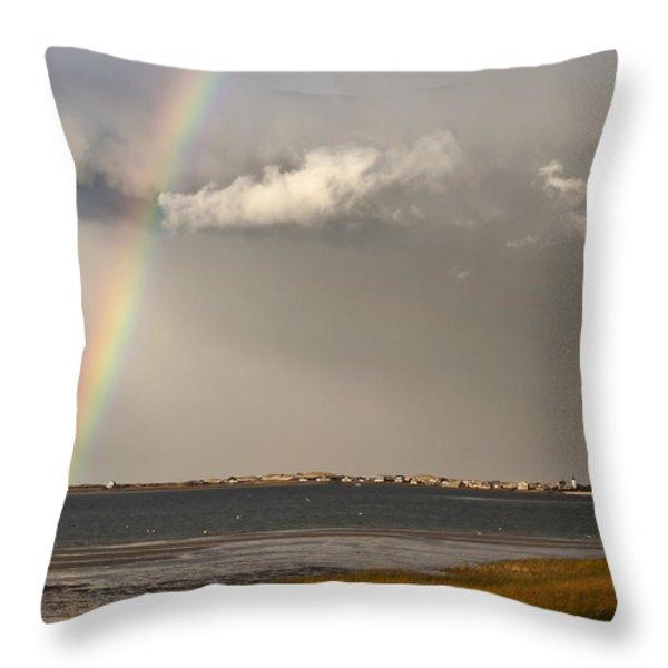 Barnstable Harbor Rainbow Throw Pillow by Charles Harden