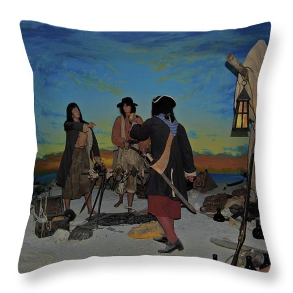 Barring Buccaneers Throw Pillow by DigiArt Diaries by Vicky B Fuller