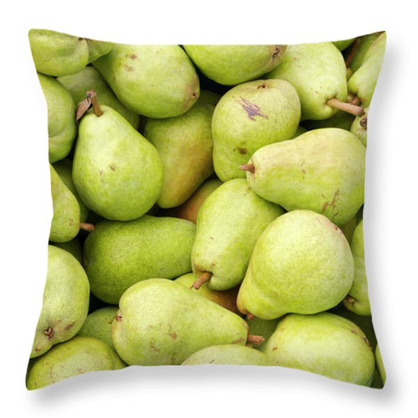Bartlett Pears Throw Pillow by John Trax
