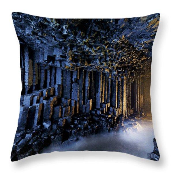 Basalt Pillars Line Fingals Cave Throw Pillow by Jim Richardson