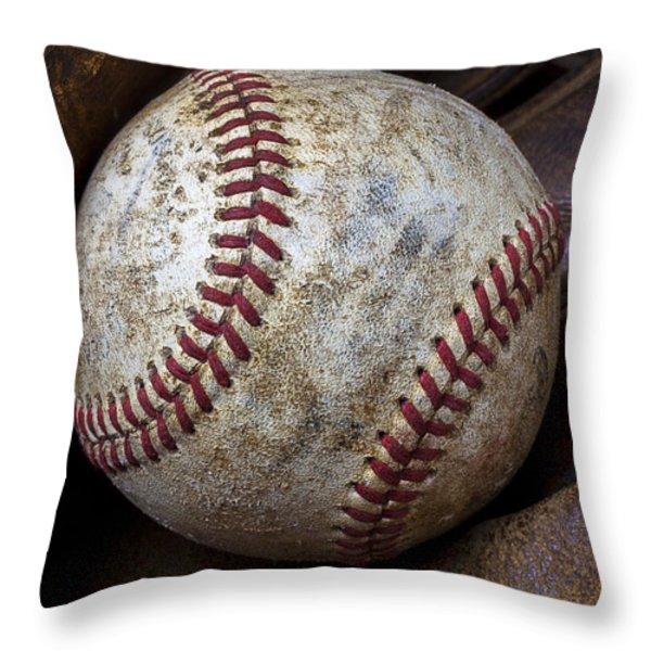 Baseball Close Up Throw Pillow by Garry Gay