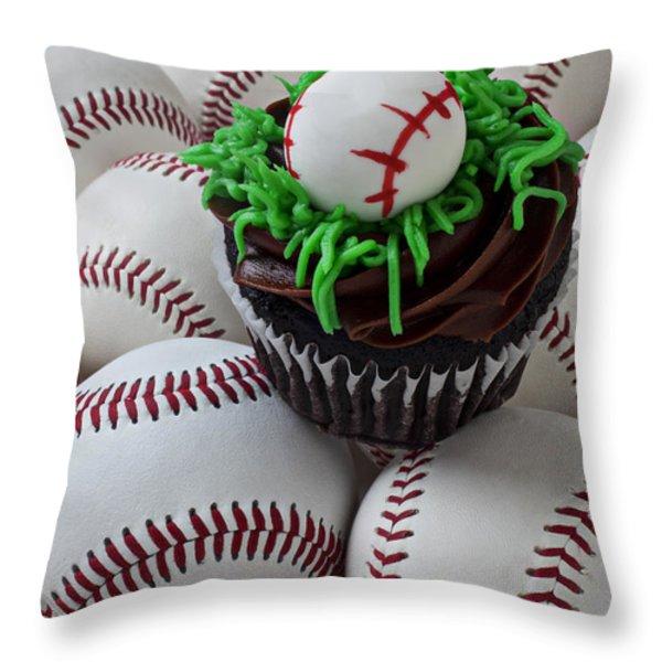 Baseball Cupcake Throw Pillow by Garry Gay