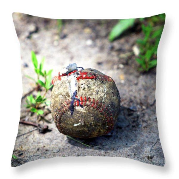 Baseball Throw Pillow by John Rizzuto