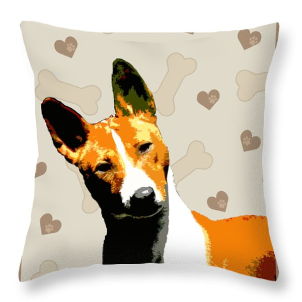 Basenji Throw Pillow by One Rude Dawg Orcutt